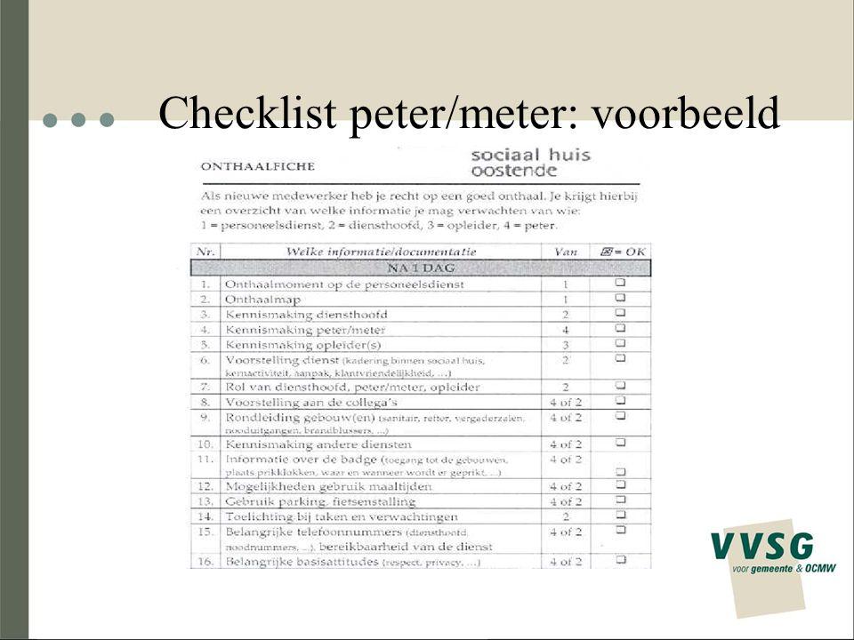 Checklist peter/meter: voorbeeld