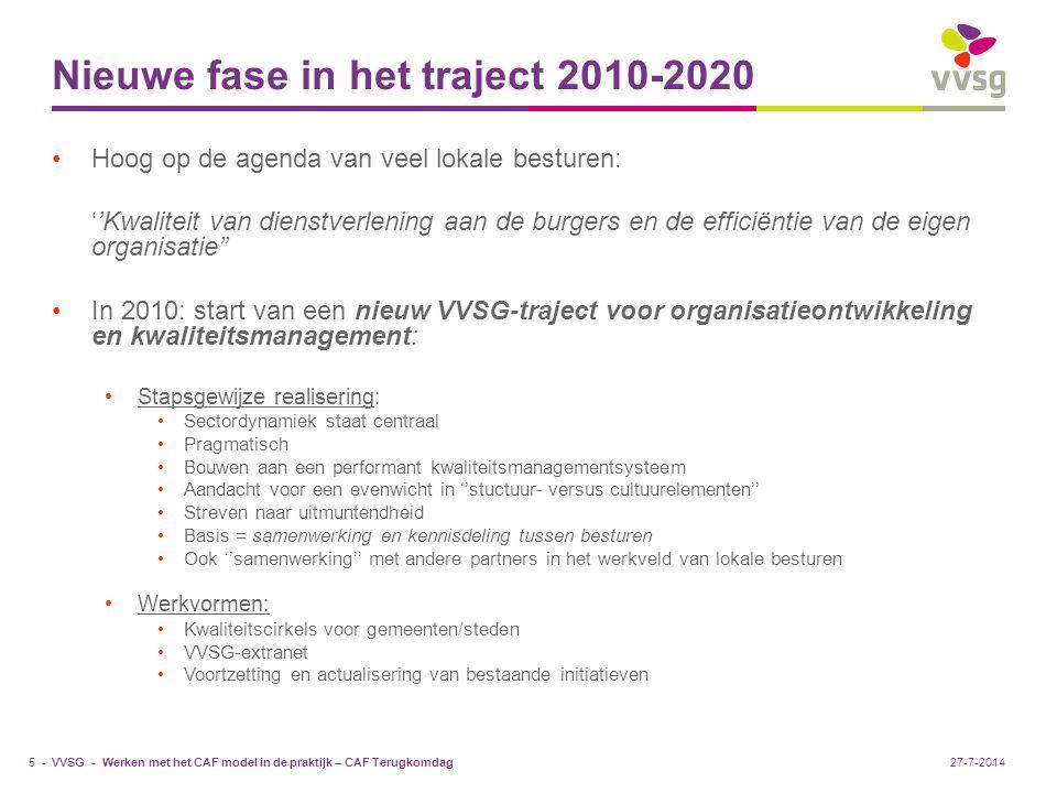 Nieuwe fase in het traject 2010-2020