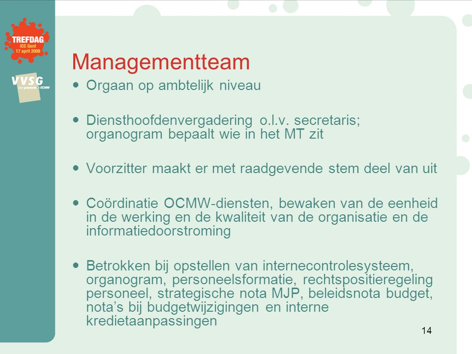 Managementteam Orgaan op ambtelijk niveau