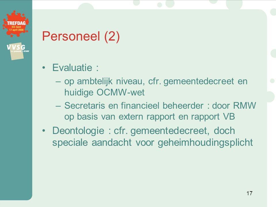 Personeel (2) Evaluatie :