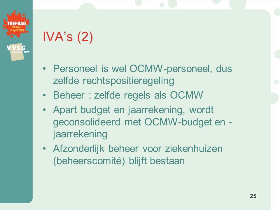 IVA's (2) Personeel is wel OCMW-personeel, dus zelfde rechtspositieregeling. Beheer : zelfde regels als OCMW.