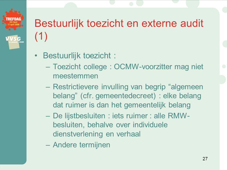 Bestuurlijk toezicht en externe audit (1)