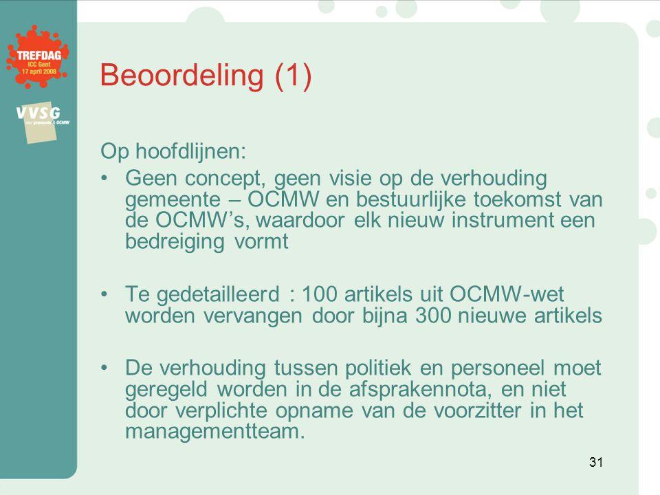 Beoordeling (1) Op hoofdlijnen:
