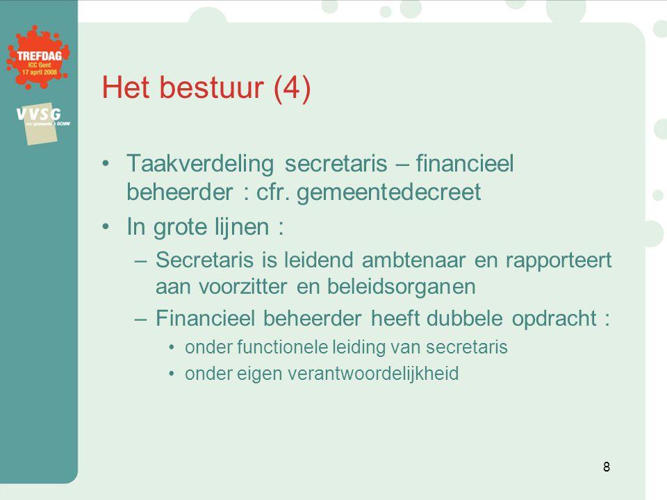 Het bestuur (4) Taakverdeling secretaris – financieel beheerder : cfr. gemeentedecreet. In grote lijnen :