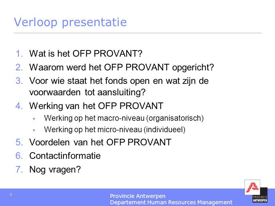 Verloop presentatie Wat is het OFP PROVANT