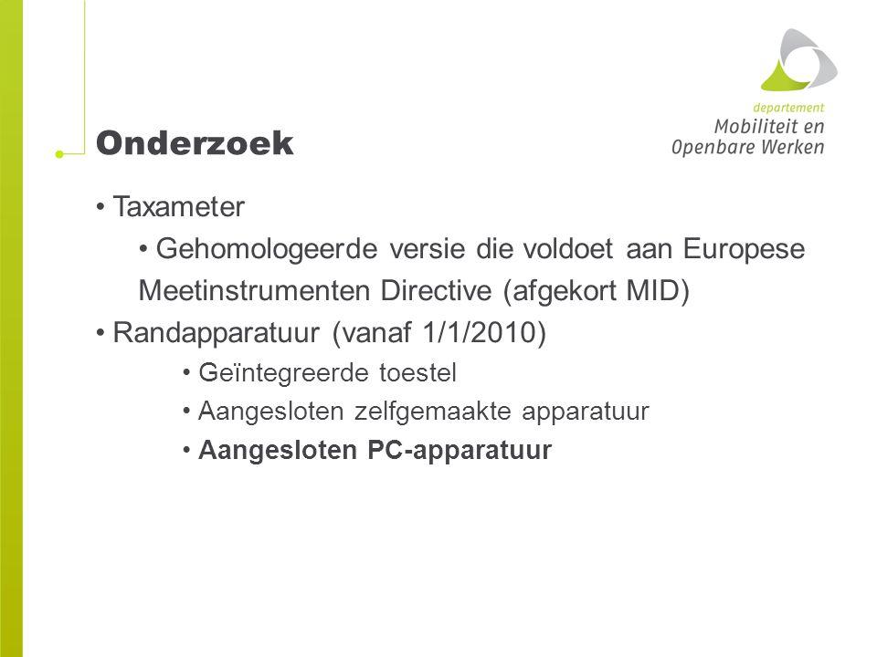 Onderzoek Taxameter Gehomologeerde versie die voldoet aan Europese
