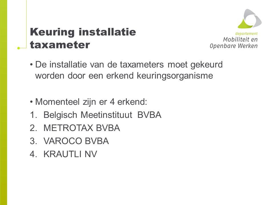 Keuring installatie taxameter