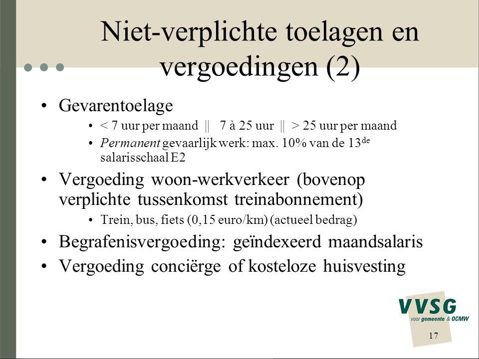 Niet-verplichte toelagen en vergoedingen (2)