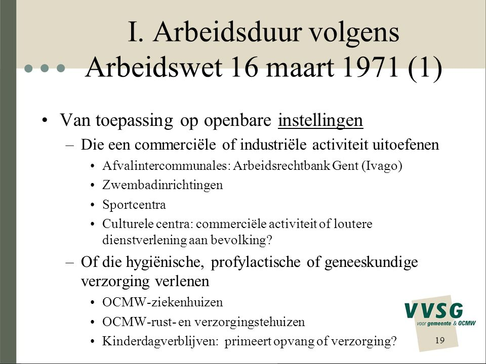 I. Arbeidsduur volgens Arbeidswet 16 maart 1971 (1)