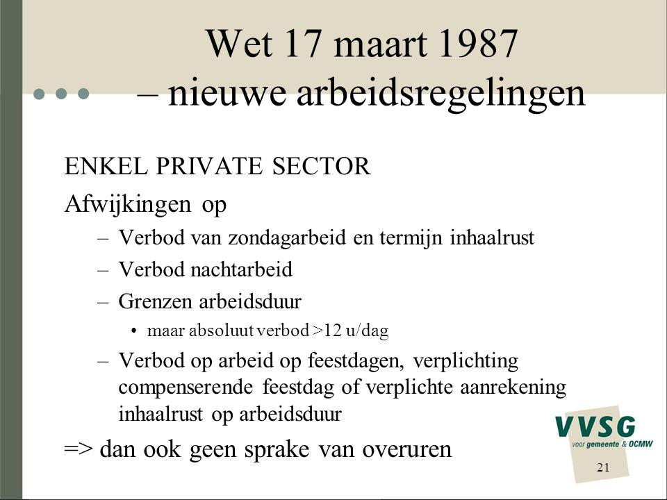 Wet 17 maart 1987 – nieuwe arbeidsregelingen