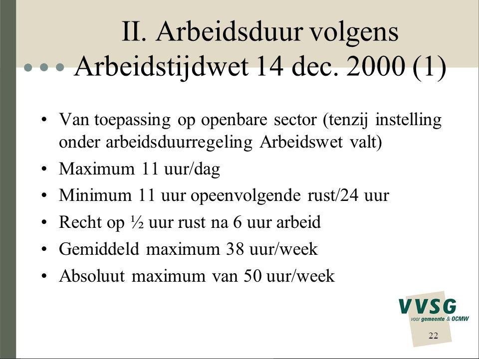 II. Arbeidsduur volgens Arbeidstijdwet 14 dec. 2000 (1)