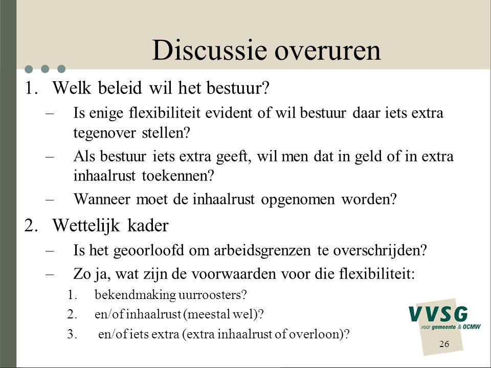 Discussie overuren Welk beleid wil het bestuur Wettelijk kader
