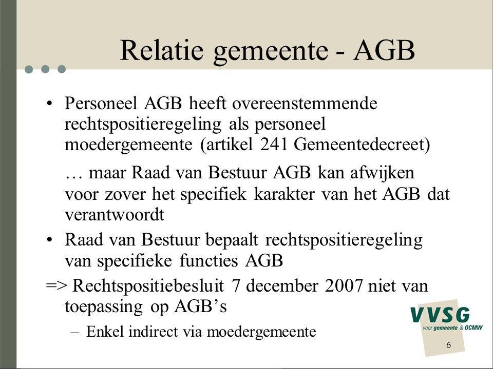Relatie gemeente - AGB Personeel AGB heeft overeenstemmende rechtspositieregeling als personeel moedergemeente (artikel 241 Gemeentedecreet)