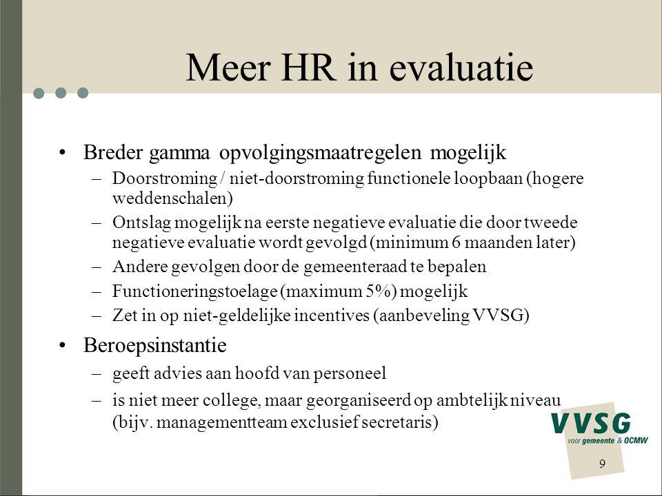 Meer HR in evaluatie Breder gamma opvolgingsmaatregelen mogelijk