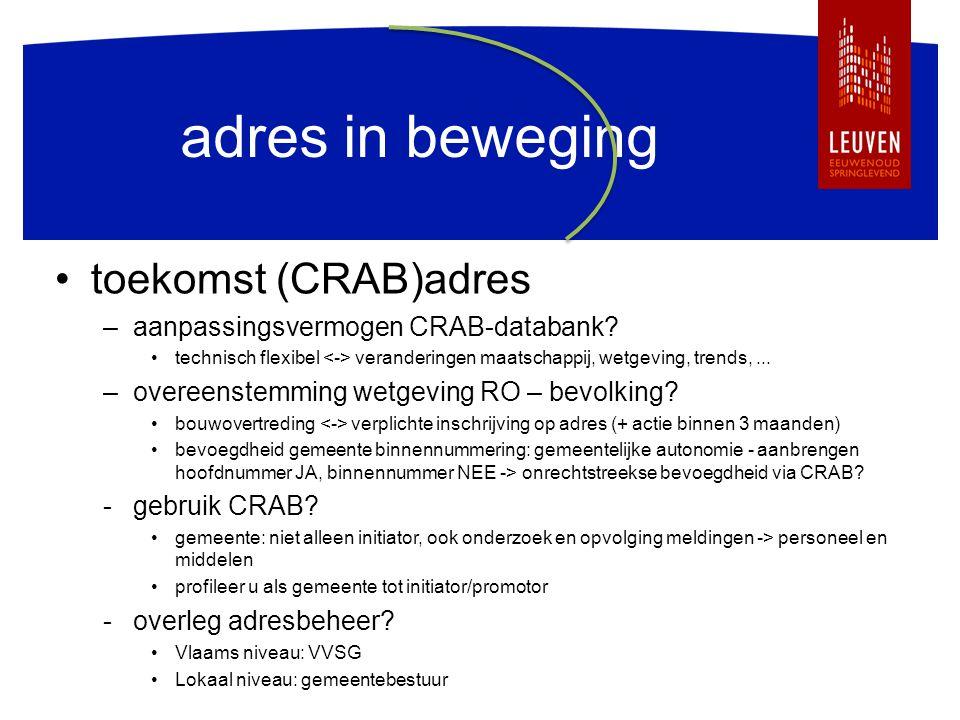 adres in beweging toekomst (CRAB)adres