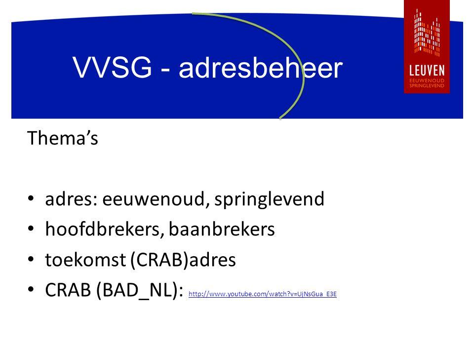 VVSG - adresbeheer Thema's adres: eeuwenoud, springlevend