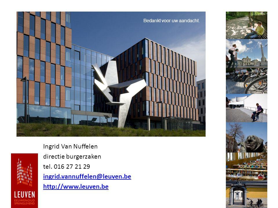 Ingrid Van Nuffelen directie burgerzaken tel. 016 27 21 29