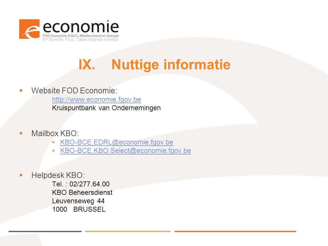 IX. Nuttige informatie Website FOD Economie: Mailbox KBO: