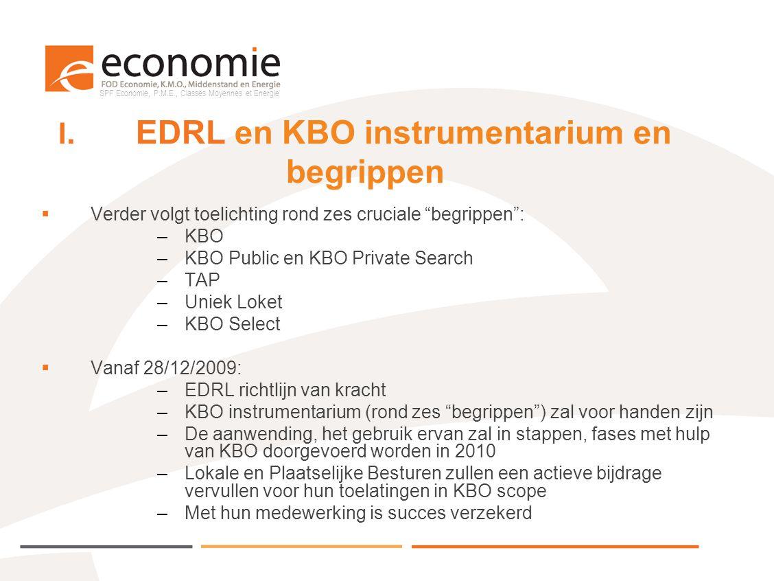 I. EDRL en KBO instrumentarium en begrippen