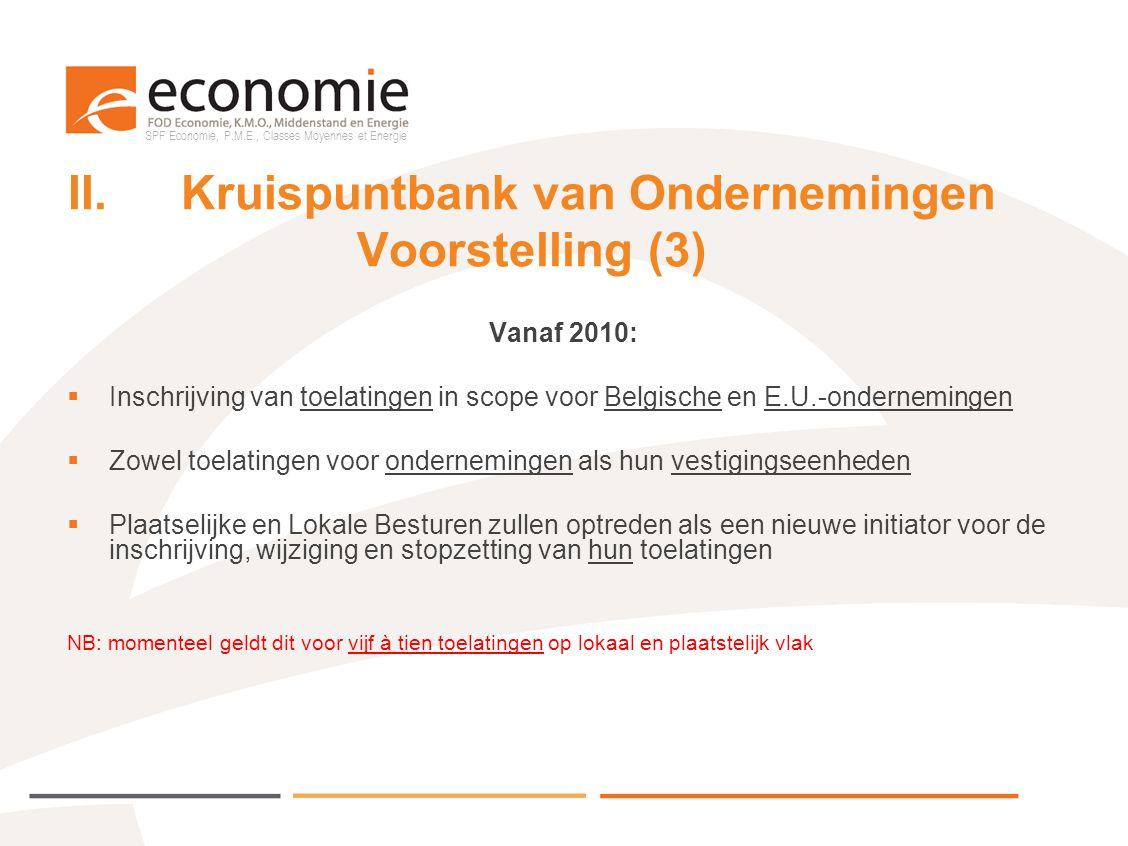II. Kruispuntbank van Ondernemingen Voorstelling (3)