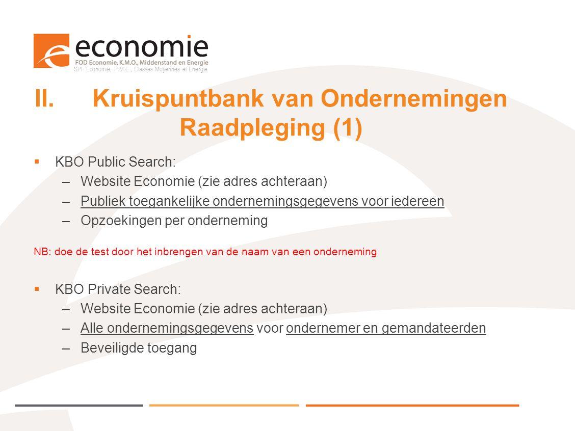 II. Kruispuntbank van Ondernemingen Raadpleging (1)
