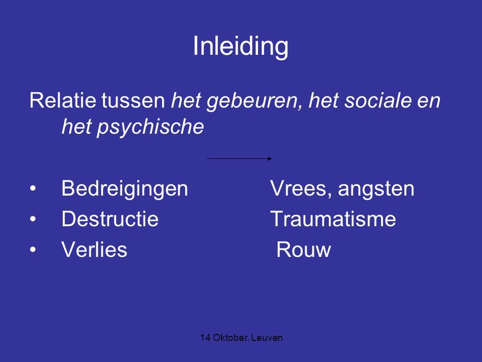 Inleiding Relatie tussen het gebeuren, het sociale en het psychische