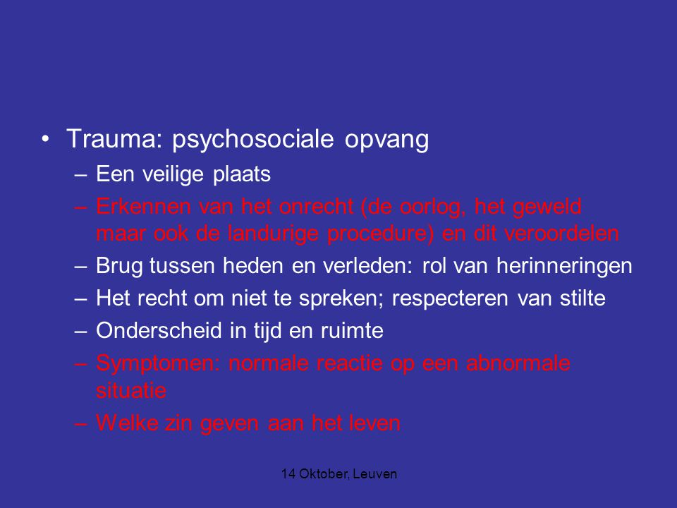 Trauma: psychosociale opvang