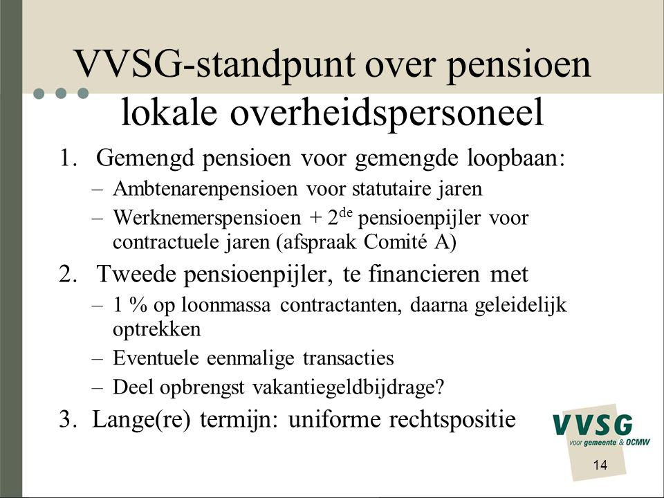 VVSG-standpunt over pensioen lokale overheidspersoneel