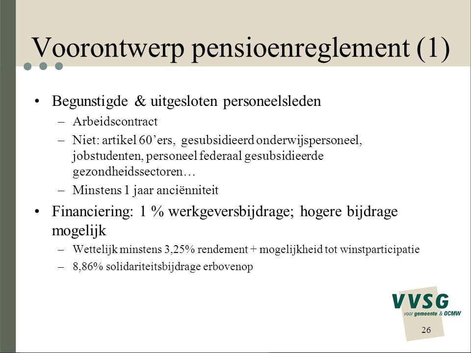 Voorontwerp pensioenreglement (1)