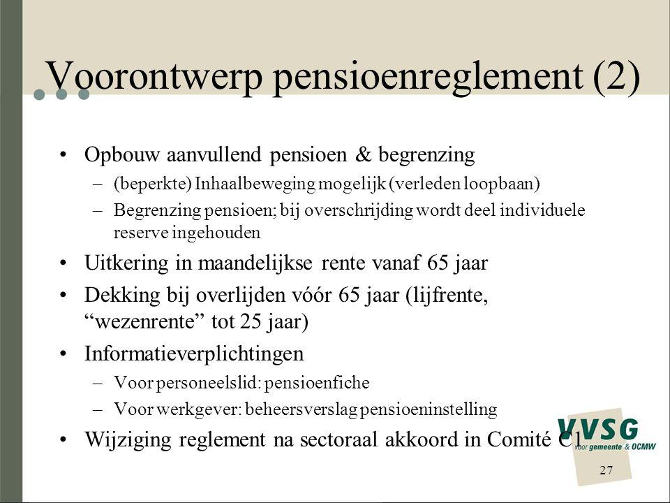 Voorontwerp pensioenreglement (2)