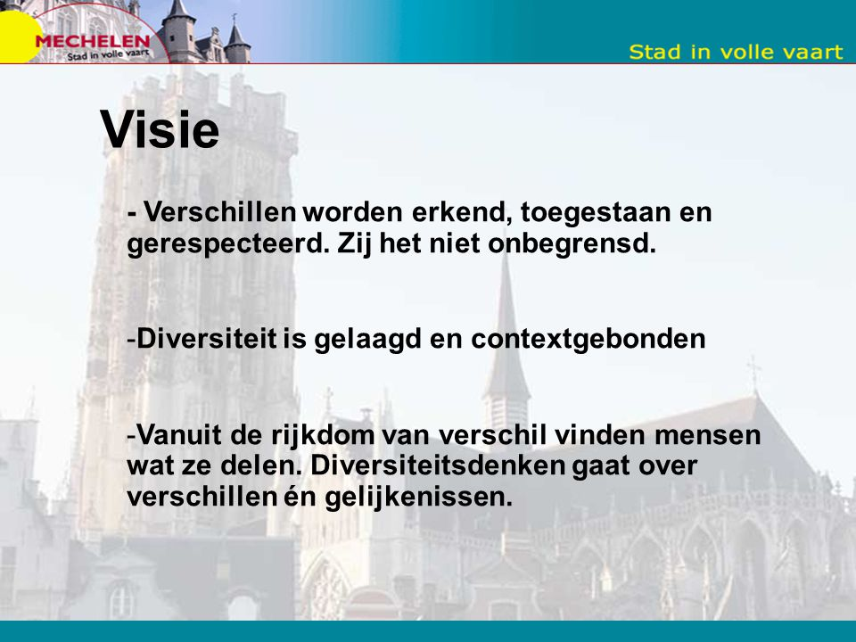 Visie - Verschillen worden erkend, toegestaan en gerespecteerd. Zij het niet onbegrensd. Diversiteit is gelaagd en contextgebonden.