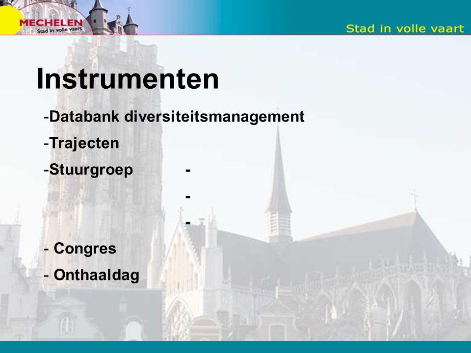 Instrumenten Databank diversiteitsmanagement Trajecten Stuurgroep - -