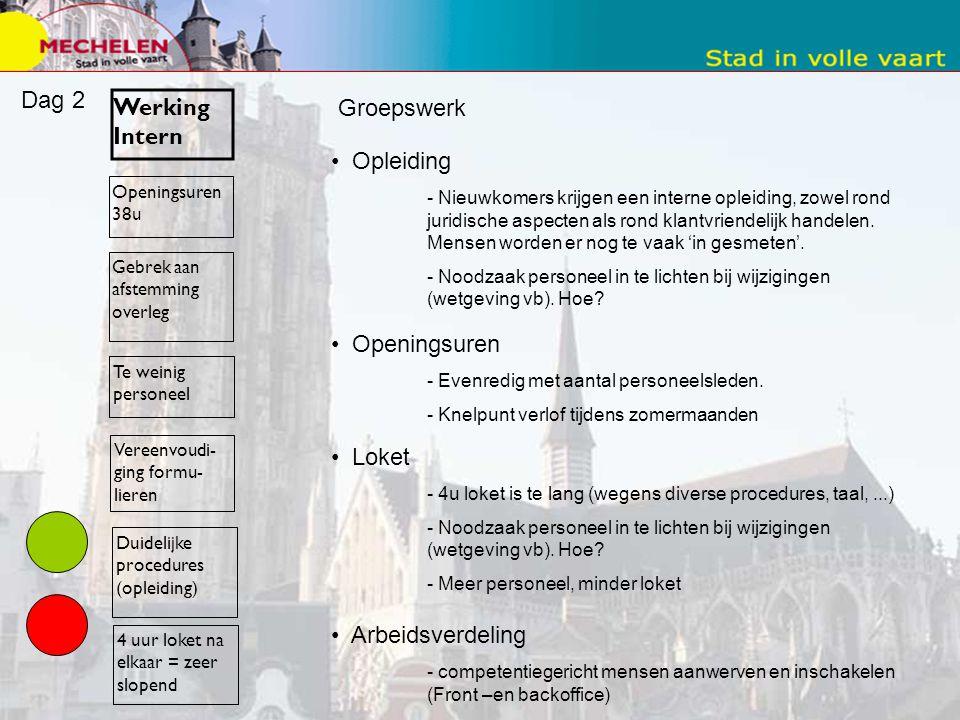Dag 2 Werking Intern Groepswerk Opleiding Openingsuren Loket