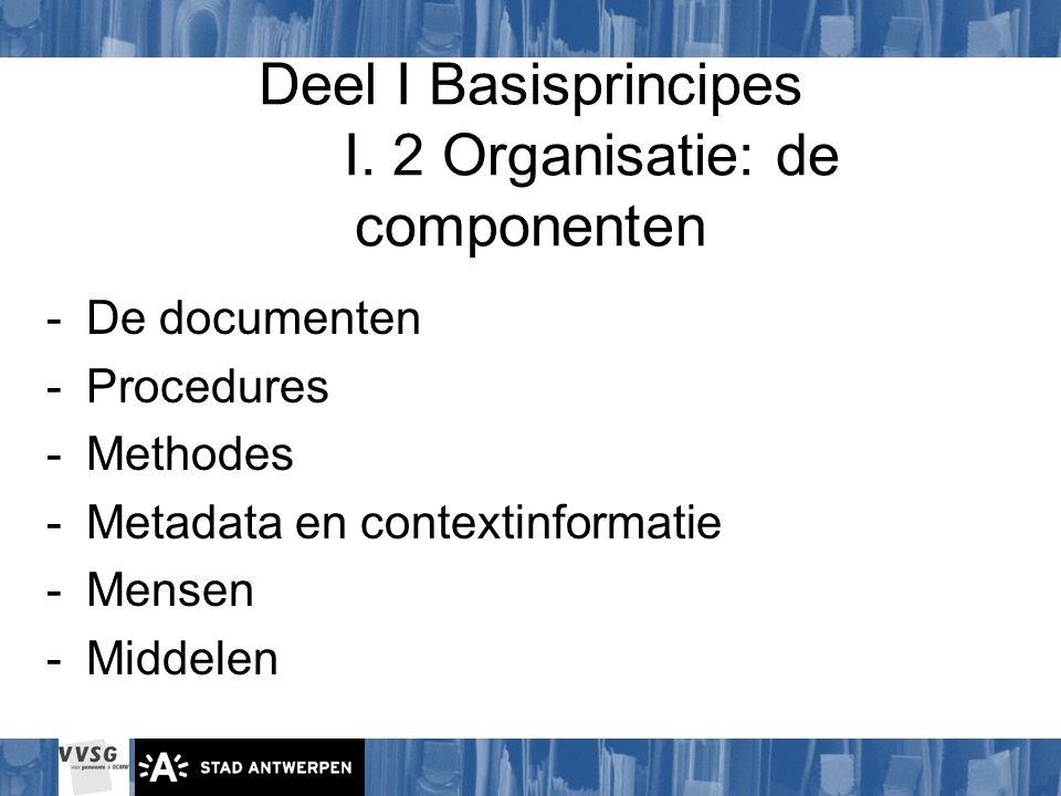 Deel I Basisprincipes I. 2 Organisatie: de componenten