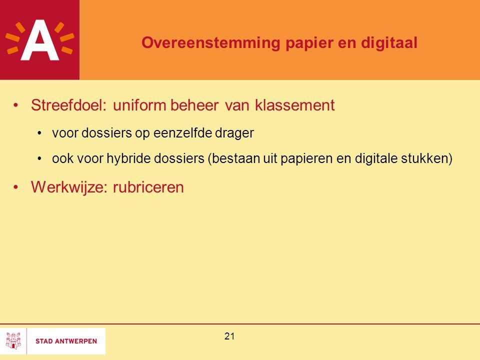 Overeenstemming papier en digitaal