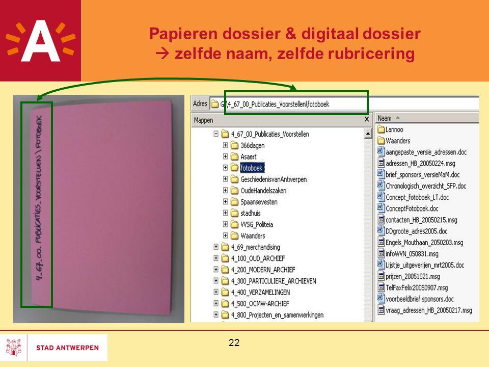 Papieren dossier & digitaal dossier  zelfde naam, zelfde rubricering