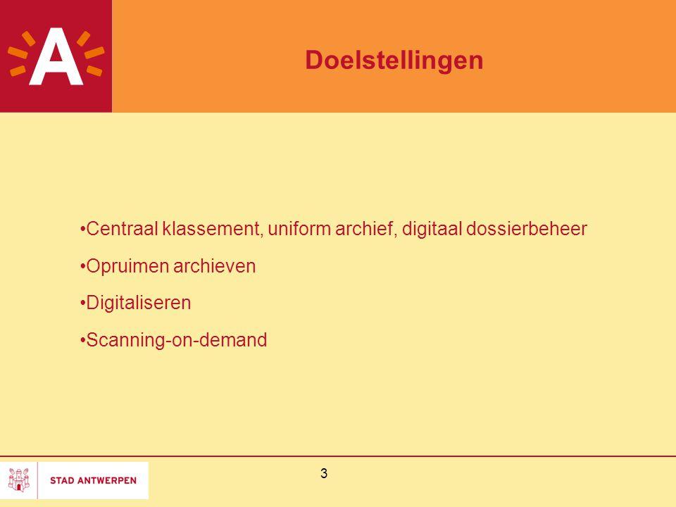 Doelstellingen Centraal klassement, uniform archief, digitaal dossierbeheer. Opruimen archieven. Digitaliseren.