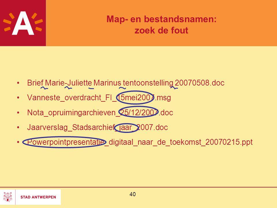 Map- en bestandsnamen: zoek de fout