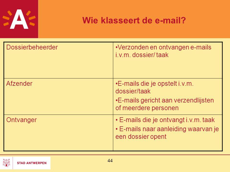 Wie klasseert de e-mail