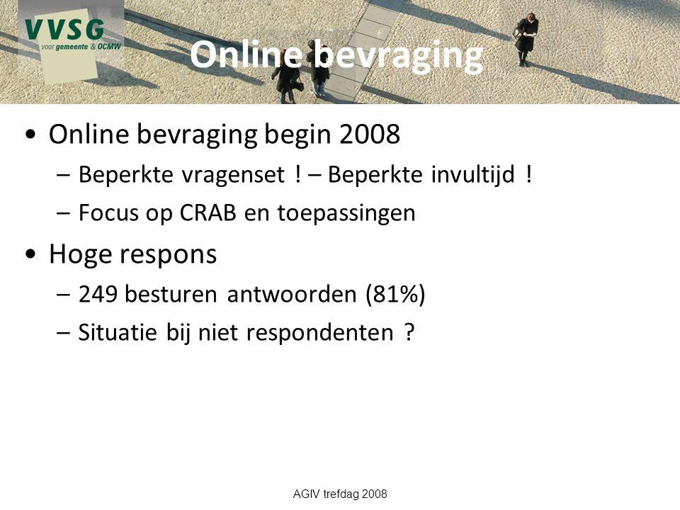 Online bevraging Online bevraging begin 2008 Hoge respons