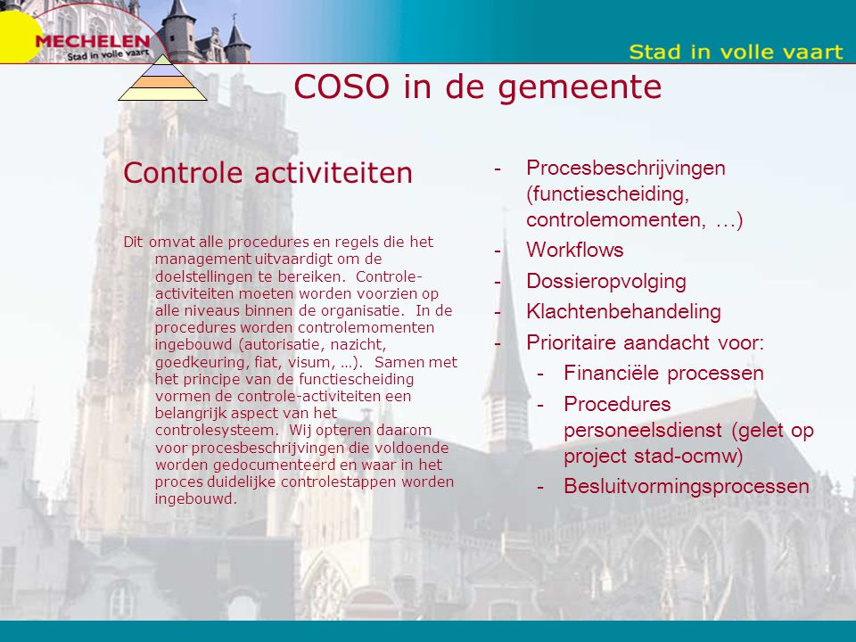 COSO in de gemeente Controle activiteiten