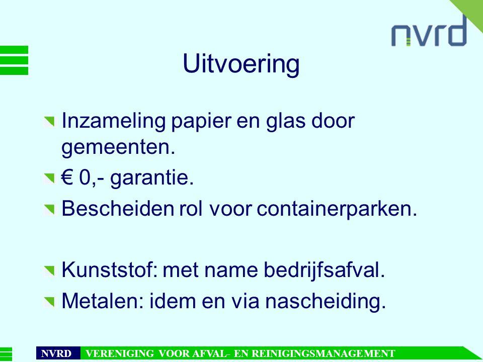 Uitvoering Inzameling papier en glas door gemeenten. € 0,- garantie.