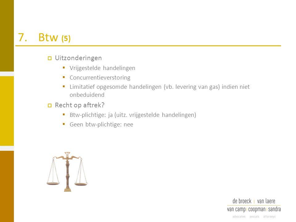 7. Btw (5) Uitzonderingen Recht op aftrek Vrijgestelde handelingen