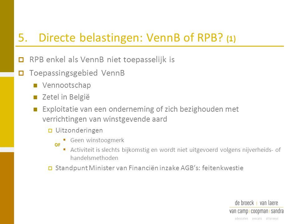 5. Directe belastingen: VennB of RPB (1)