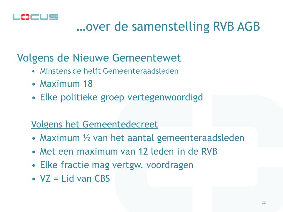 …over de samenstelling RVB AGB