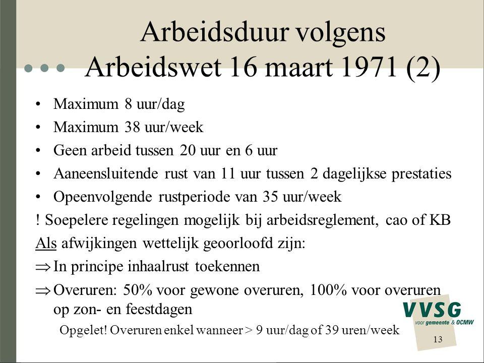 Arbeidsduur volgens Arbeidswet 16 maart 1971 (2)