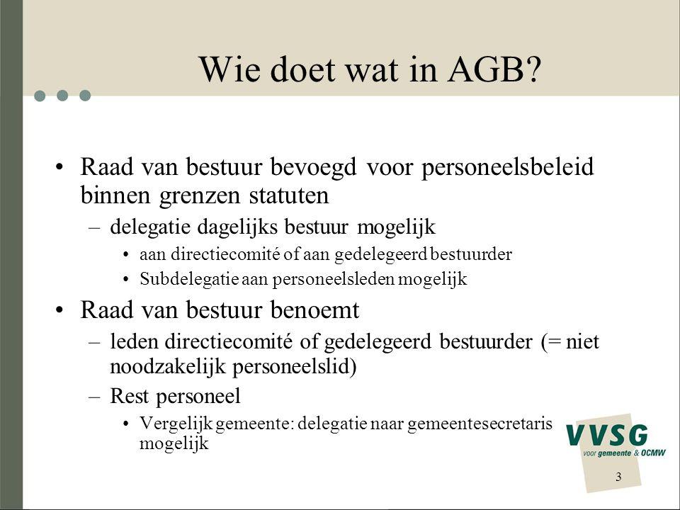 Wie doet wat in AGB Raad van bestuur bevoegd voor personeelsbeleid binnen grenzen statuten. delegatie dagelijks bestuur mogelijk.