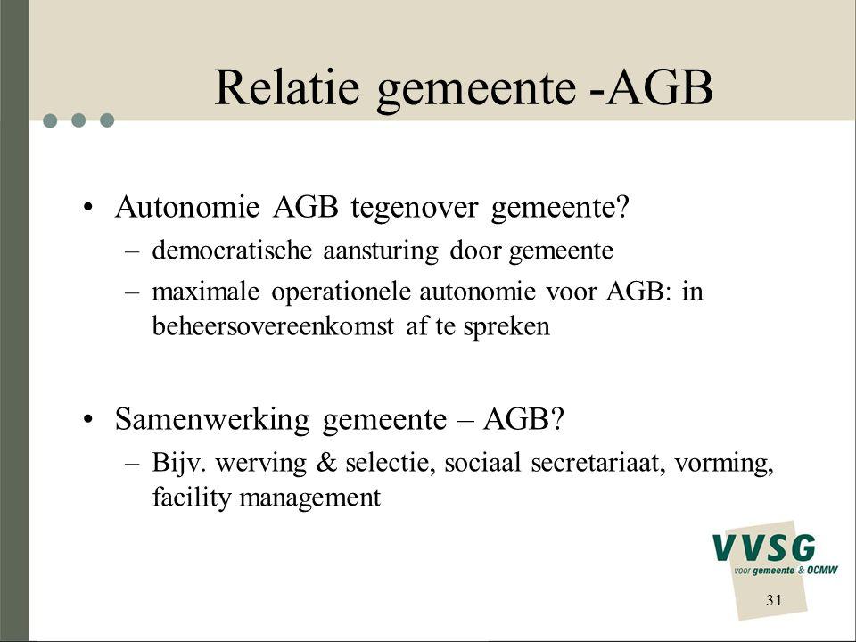 Relatie gemeente -AGB Autonomie AGB tegenover gemeente