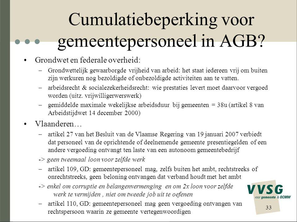 Cumulatiebeperking voor gemeentepersoneel in AGB