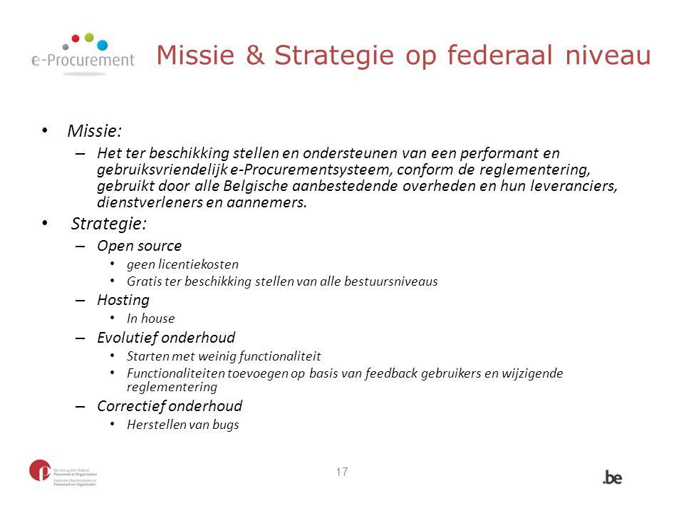 Missie & Strategie op federaal niveau